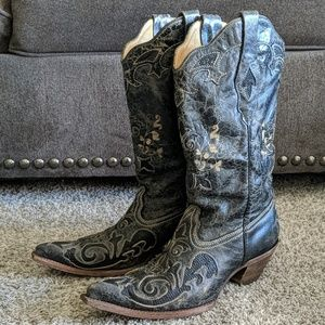 Leather & lizard CORRAL black Cowgirl boots sz 9.5